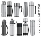 thermos mockup set. realistic... | Shutterstock .eps vector #647989309