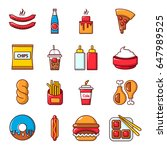 fast food icons set. cartoon... | Shutterstock .eps vector #647989525