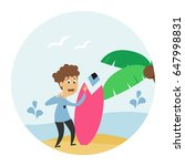 hello summer card with palm...   Shutterstock .eps vector #647998831