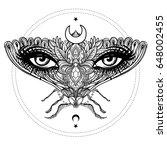 weird beautiful moth on an girl ...   Shutterstock .eps vector #648002455