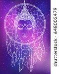 buddha face over dreamcatcher... | Shutterstock .eps vector #648002479