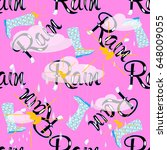 rain vector seamless pattern.... | Shutterstock .eps vector #648009055