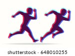 running man in bright colors.... | Shutterstock .eps vector #648010255