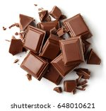 milk chocolate pieces isolated... | Shutterstock . vector #648010621