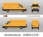 yellow van vector mock up for... | Shutterstock .eps vector #648011155