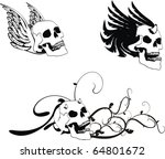 winged skull set in vector...