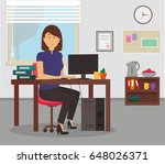 woman working with computer and ... | Shutterstock .eps vector #648026371