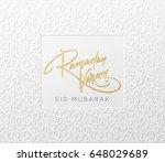 gold glitter lettering ramadan... | Shutterstock .eps vector #648029689