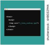 i love coding written in html... | Shutterstock .eps vector #648032944