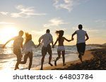 happy young friends group have... | Shutterstock . vector #64803784