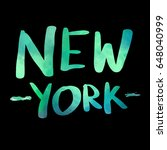 new york watercolor text with... | Shutterstock .eps vector #648040999