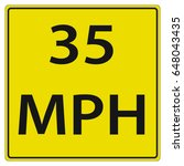 35 Mph Speed Limit Road Sign