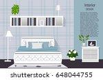 the interior of the bedroom....   Shutterstock .eps vector #648044755