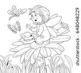 a cute fairy sitting on a... | Shutterstock . vector #648048229