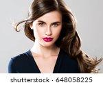 beauty woman face portrait.... | Shutterstock . vector #648058225
