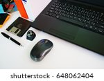 office desk table with computer ... | Shutterstock . vector #648062404