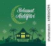 selamat hari raya aidilfitri... | Shutterstock .eps vector #648064294