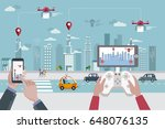 people launching drones by... | Shutterstock .eps vector #648076135