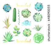 set of watercolor different... | Shutterstock . vector #648090055