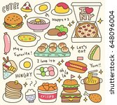 set of cute meal and dish doodle   Shutterstock .eps vector #648096004