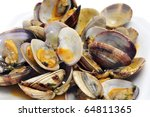 a plate with clams on a white background - stock photo