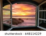 Beach  Ocean Sunset Scene...