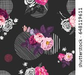 floral seamless pattern with... | Shutterstock .eps vector #648119611
