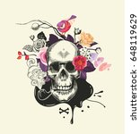 human skull drawn in etching... | Shutterstock .eps vector #648119629