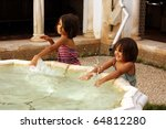 two little girls smiling and...   Shutterstock . vector #64812280