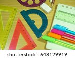 top view school supplies... | Shutterstock . vector #648129919