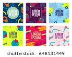 Memphis style cards Design Collection of Colorful templates with geometric shapes, patterns with trendy Memphis fashion 80's-90's. Ideal for ad, invitation, presentation Isolated Vector illustration | Shutterstock vector #648131449