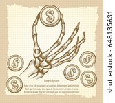 hand drawn skeleton hand with...   Shutterstock .eps vector #648135631