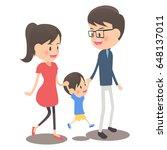parents and children walk hand... | Shutterstock .eps vector #648137011