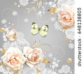 white roses and a  butterfly ... | Shutterstock .eps vector #648138805