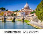 Rome, Italy. Vatican dome of Saint Peter Basilica (Italian: San Pietro) and Sant