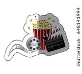sticker color with popcorn cup... | Shutterstock .eps vector #648141994