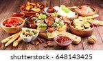 italian antipasti wine snacks... | Shutterstock . vector #648143425
