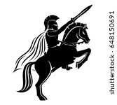 spartan on a horse. | Shutterstock .eps vector #648150691