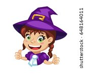 cartoon young girl witch...   Shutterstock .eps vector #648164011