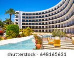 luxury hotel with infinity pool ... | Shutterstock . vector #648165631
