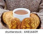 hot chocolate in the hands - stock photo