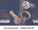 Close Up Of Saxophone Player...