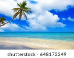 tropical beach with palms and... | Shutterstock . vector #648172249