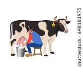 farmer milking a cow. vector... | Shutterstock .eps vector #648181975