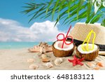 marine composition of coconut... | Shutterstock . vector #648183121