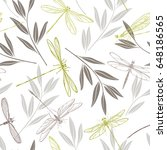 dragonflies and twigs on a... | Shutterstock .eps vector #648186565