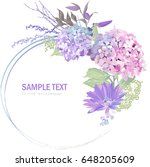 bouquet of red  pink and blue... | Shutterstock . vector #648205609
