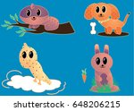 set of colorful cartoon animals ... | Shutterstock .eps vector #648206215