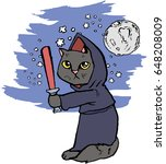funny cartoon cat dressed in a...   Shutterstock .eps vector #648208009
