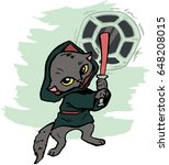 funny cartoon cat dressed in a...   Shutterstock .eps vector #648208015